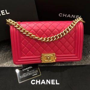 Pink Chanel Boy Old Medium Lambskin